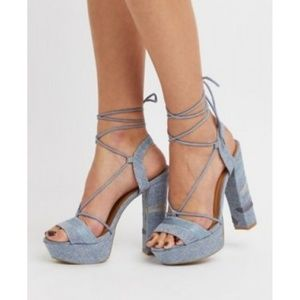 EMBROIDERED HEELS W/LACE-UP ANKLE STRAP PLATFORMS